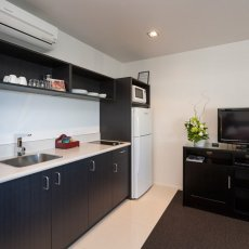 Kitchen in the 1 Bedroom at The Dawson Motel, New Plymouth. Book today 06 758 1177