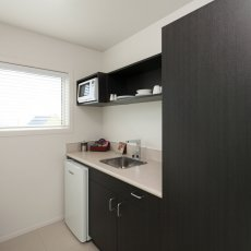The kitchen in a Studio Room at The Dawson Motel. Call 06 758 1177
